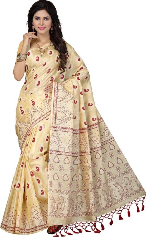 Rani Saahiba Printed Bhagalpuri Art Silk Saree(Beige, Red)