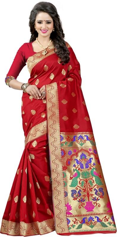 Style U Self Design, Woven Paithani Handloom Poly Silk Saree(Multicolor)