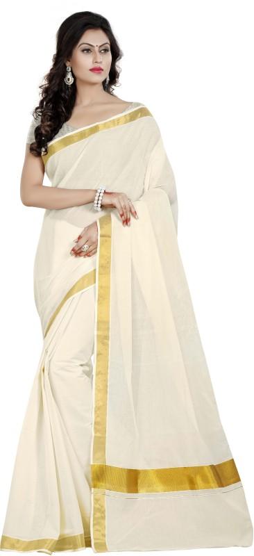 Lady Sringar Plain, Solid Fashion Cotton Saree(White, Gold)