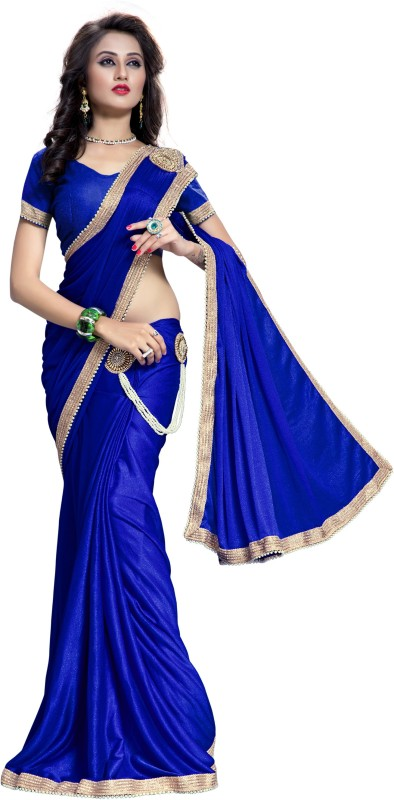 The Fashion Outlets Solid Fashion Lycra Saree(Blue)