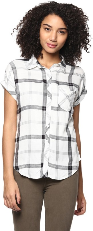Harpa Casual Short Sleeve Checkered Women White Top