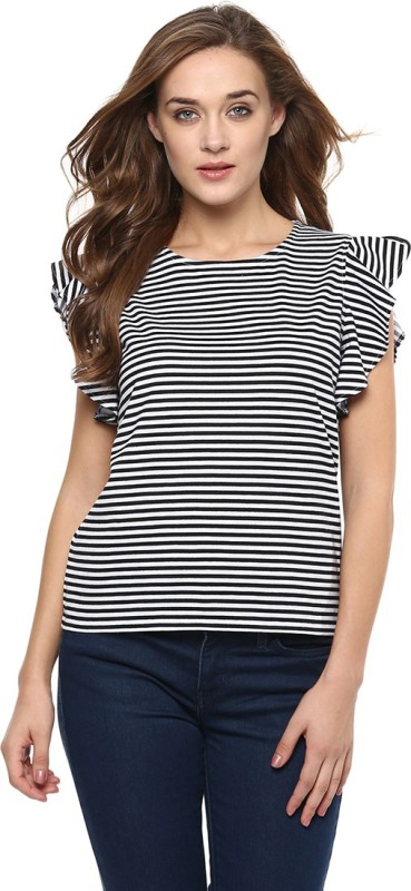 Miss Chase Casual Cape Sleeve Striped Women Black Top