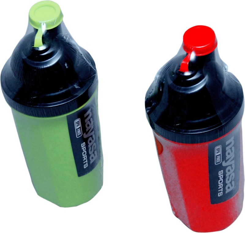 Nayasa sporty track 700 ml Water Bottles(Set of 2, red and green)