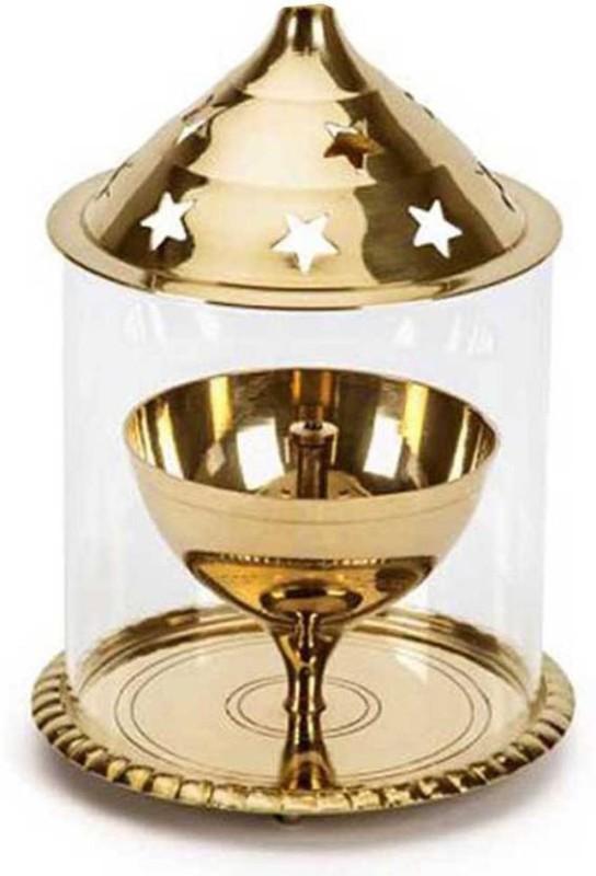 Brass chain Akhand diya Brass, Glass Table Diya(Height: 5 inch)