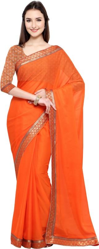 Lady Sringar Plain Fashion Shimmer Fabric Saree(Orange)