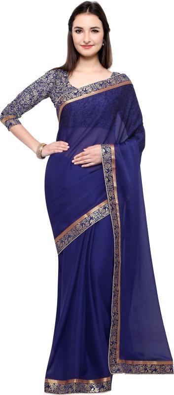 Design Willa Plain Fashion Shimmer Fabric Saree(Dark Blue)