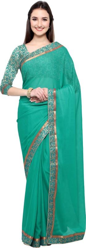 Lady Sringar Plain Fashion Shimmer Fabric Saree(Light Green)