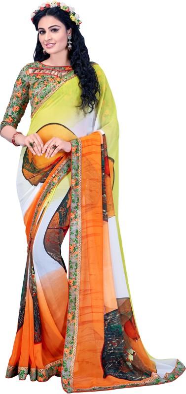 Lady Sringar Digital Prints Phulkari Georgette Saree(Multicolor)