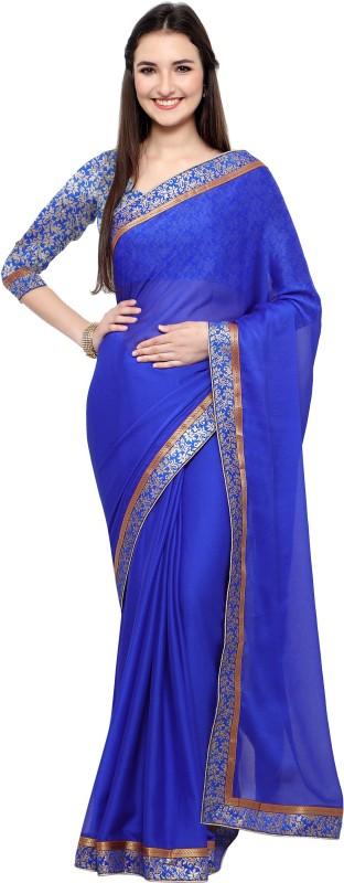 Design Willa Plain Fashion Shimmer Fabric Saree(Blue)