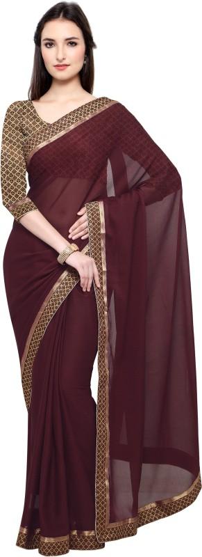 Lady Sringar Plain Fashion Shimmer Fabric Saree(Maroon)