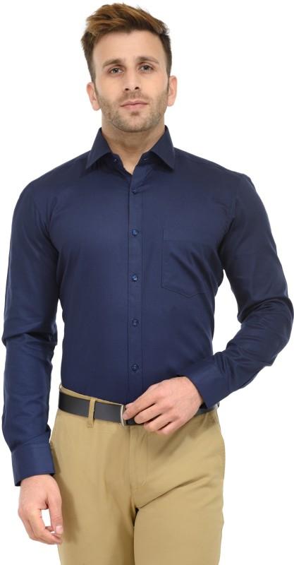 RG Designers Men's Solid Formal Dark Blue Shirt
