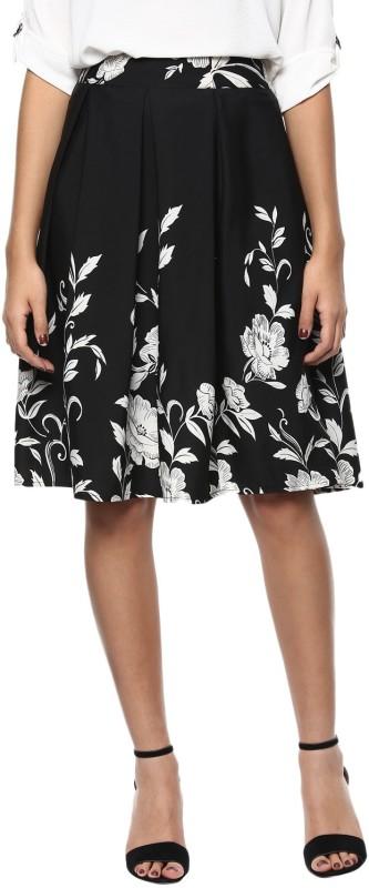 Harpa Floral Print Women's Gathered Black Skirt