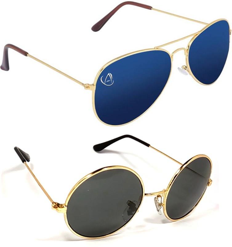 Aventus Aviator, Round Sunglasses(Blue, Black)