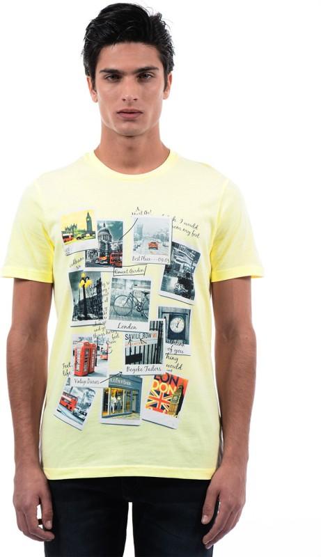 Monte Carlo Printed Mens Round Neck Yellow T-Shirt