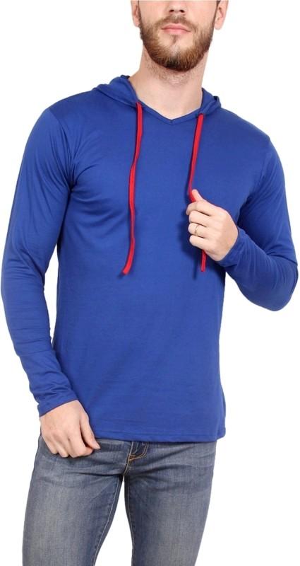 Newflyer Solid Men's Hooded Blue T-Shirt