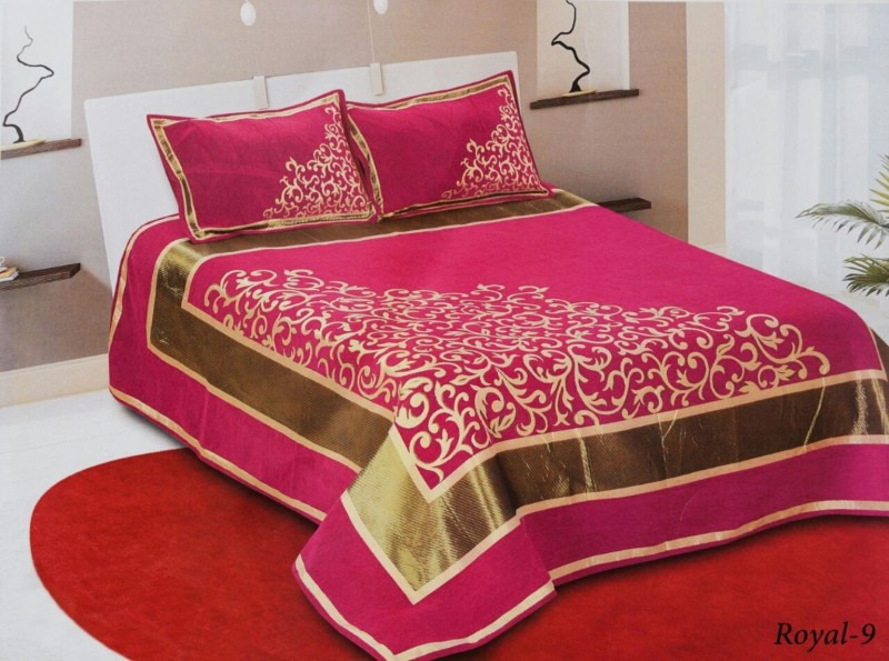 Akshaan Texo Fab Velvet Double King Abstract Bedsheet(Pack of 2, Pink)