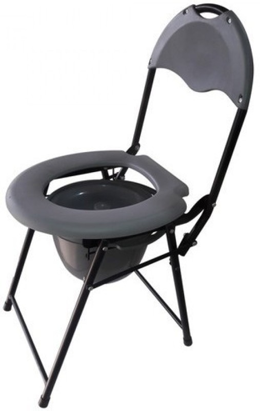 karma ryder 200 MS Commode Shower Chair(Grey, Black)