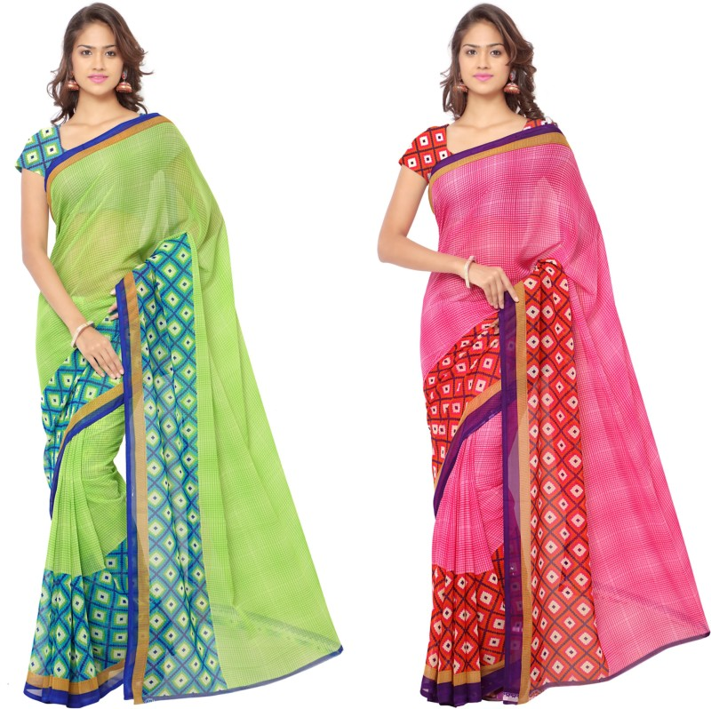 Anand Sarees Printed Fashion Georgette Saree(Pack of 2, Multicolor)