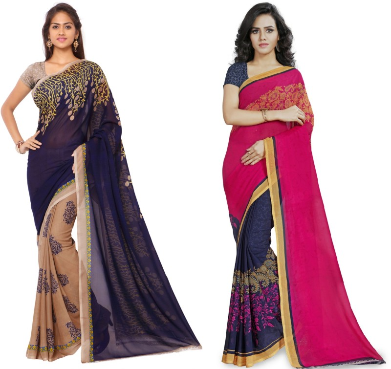 Kashvi Sarees Printed Fashion Georgette Saree(Pack of 2, Multicolor)