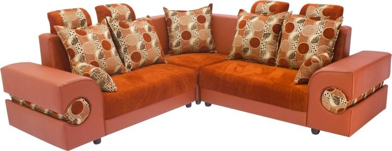 Wood Pecker Fabric Sectional Plain chennel Rust Sofa Set(Configuration - L-shaped)