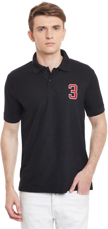 100 Tees Solid Mens Polo Neck Black T-Shirt