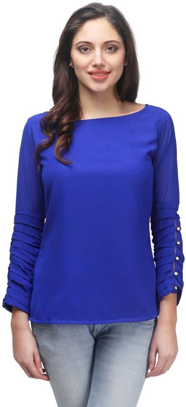 PRINTEMPS Casual Full Sleeve Solid Women's Blue Top