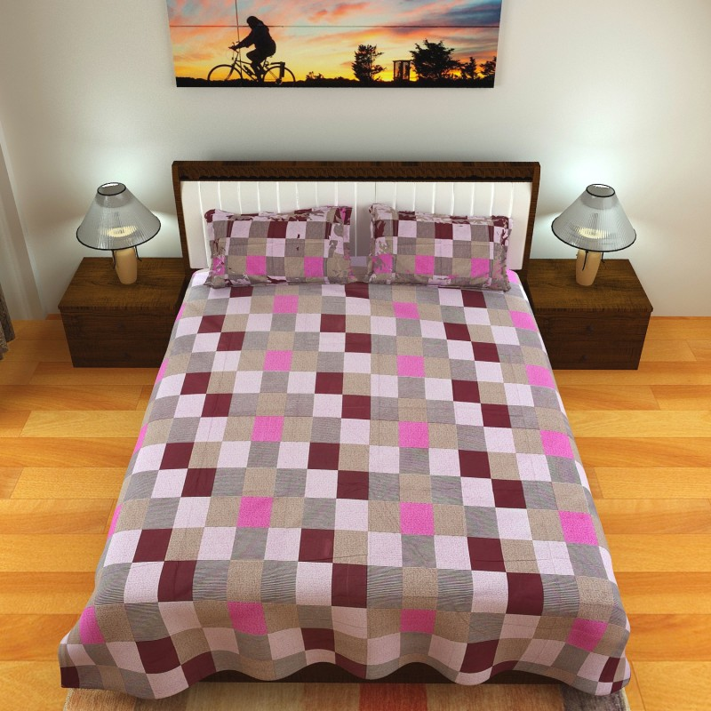 Chokor Cotton Printed Double Bedsheet(1 Bedsheet with 2 Pillow Covers, Multicolor)