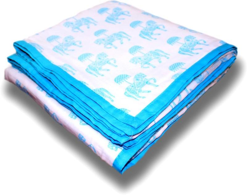 Tura Turi Motifs Crib Dohar, Throw, Swadding Baby Blanket, Crib Baby Blanket, Blanket Blue