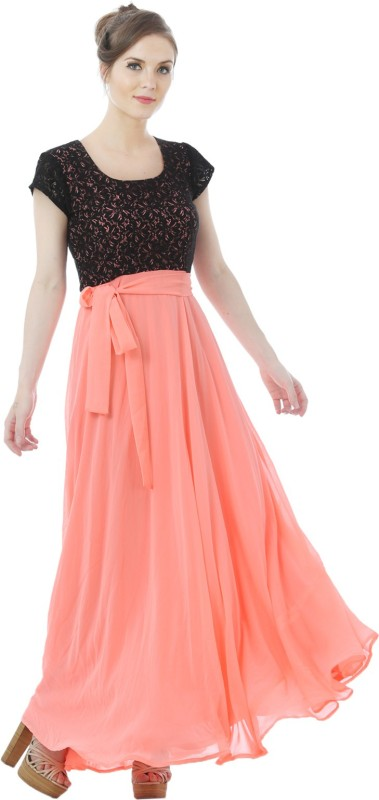 Just Wow Flared Gown(Orange)