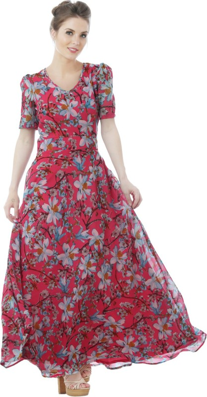 Just Wow Flared Gown(Multicolor)