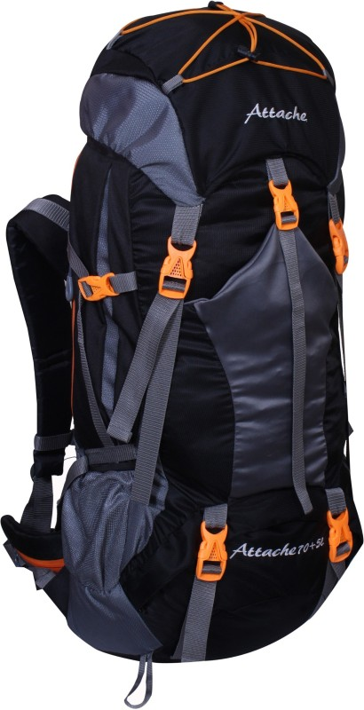 Attache 1025R Hiking Backpack (Black) With Rain Cover Rucksack - 70 L(Black, Grey)