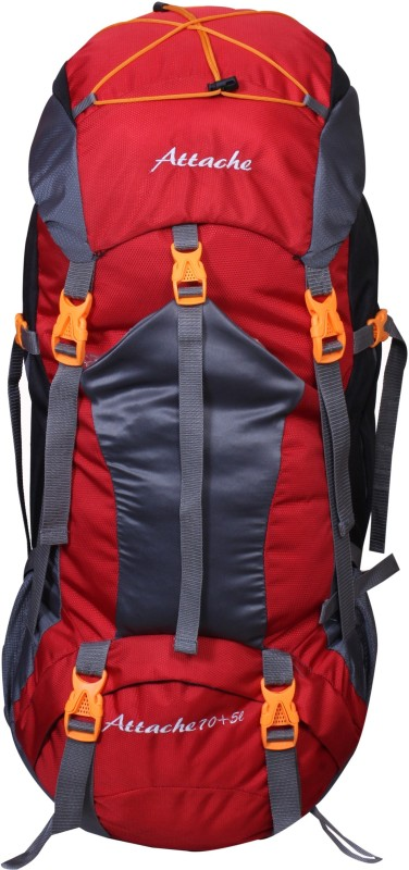 Attache 1025R Hiking Backpack (Red) With Rain Cover Rucksack - 70 L(Red, Grey)