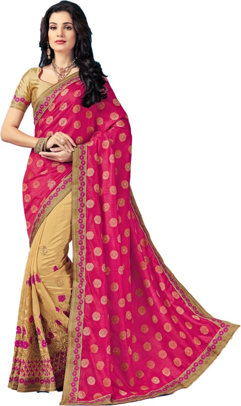 M.S.Retail Embroidered Bollywood Silk, Dupion Silk Saree(Pink)