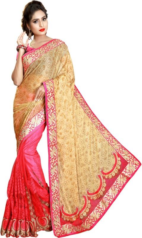Pragati Fashion Hab Embroidered Bollywood Silk, Net Saree(Beige, Pink)
