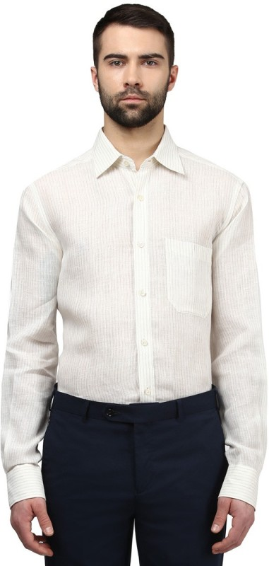Raymond Mens Striped Casual Beige Shirt