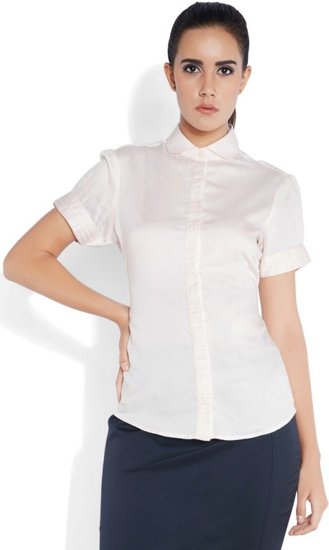 Park Avenue Womens Solid Casual Beige Shirt