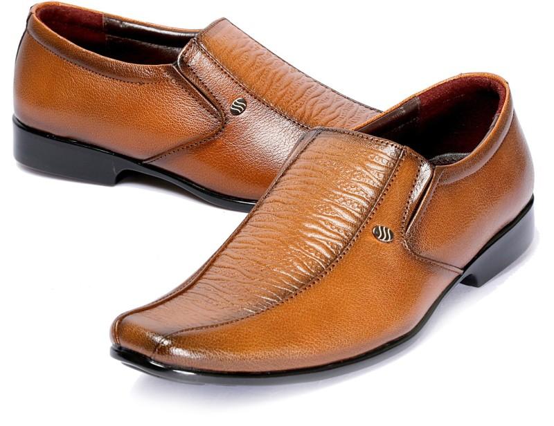 Kivalo Premium Genuine Leather Formal Shoes Slip On For Men(Tan)