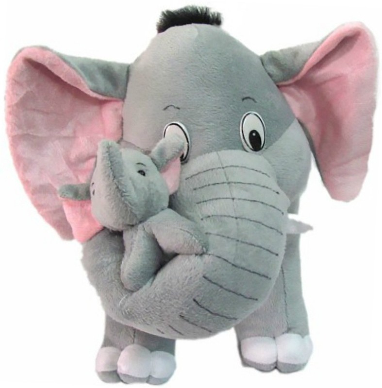 JRP Mart Mother Elephant with 2 Babies - 41 cm(Grey)