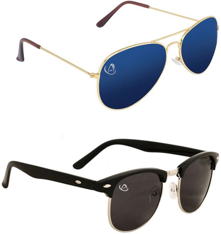 Aventus Aviator, Clubmaster Sunglasses(Blue, Black)