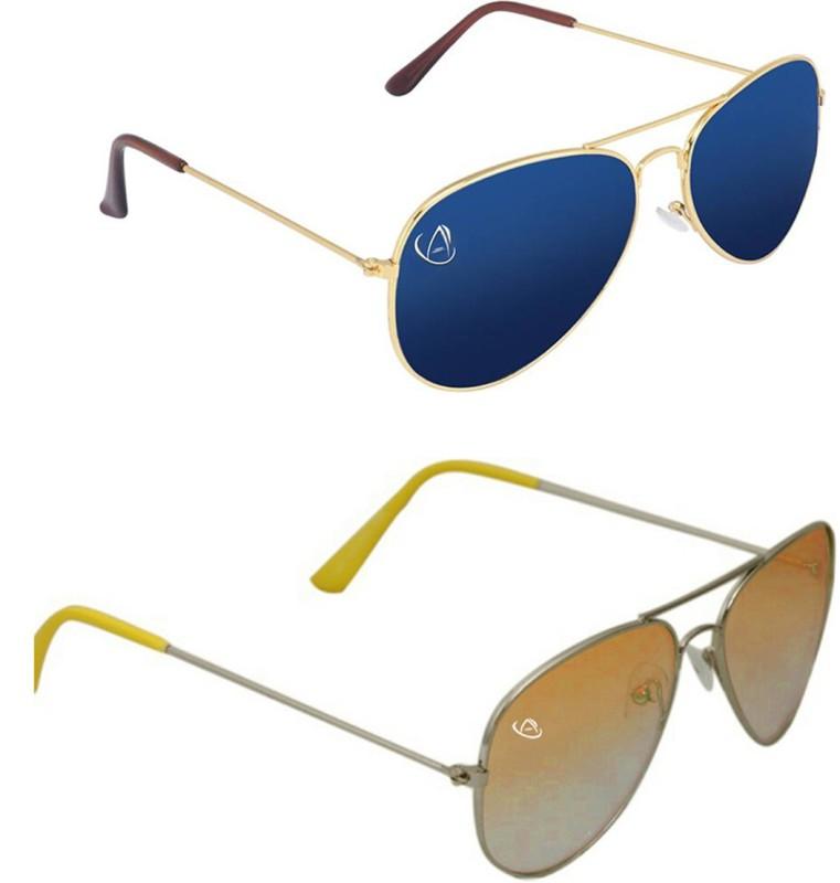 Aventus Aviator Sunglasses(Blue, Yellow)