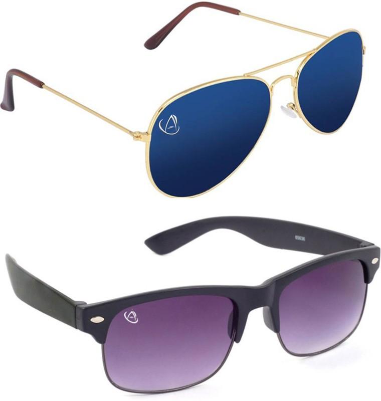 Aventus Aviator, Wayfarer Sunglasses(Blue, Black)