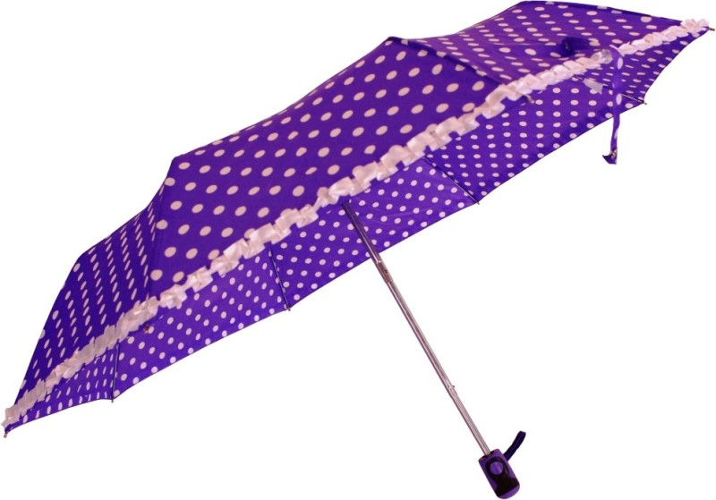 Sun Brand Polka & Frill - 3 Fold-Purple Umbrella(Purple)