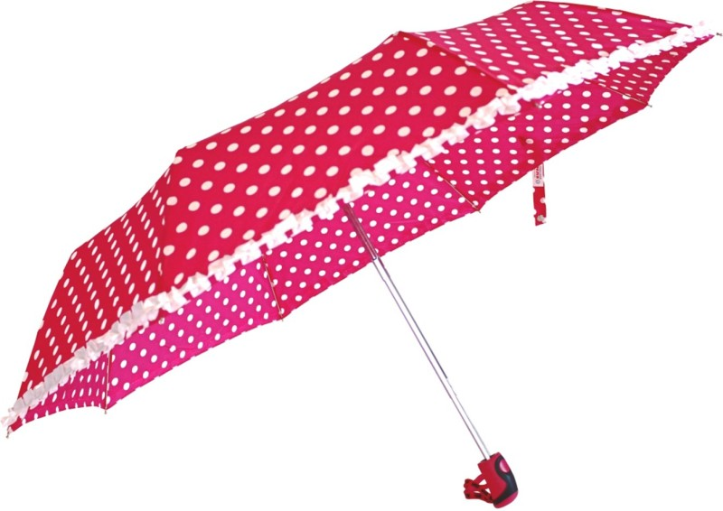 Sun Brand Umbrella Polka & Frill - 3 Fold-Pink Umbrella(Pink)