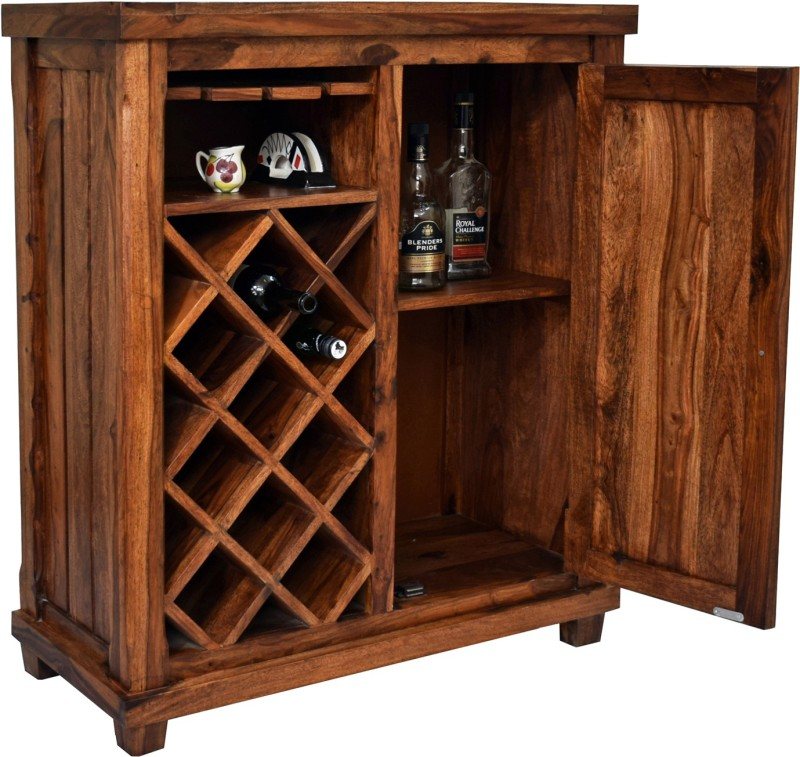 TimberTaste COSMOS Solid Wood Bar Cabinet(Finish Color - Natural Teak)