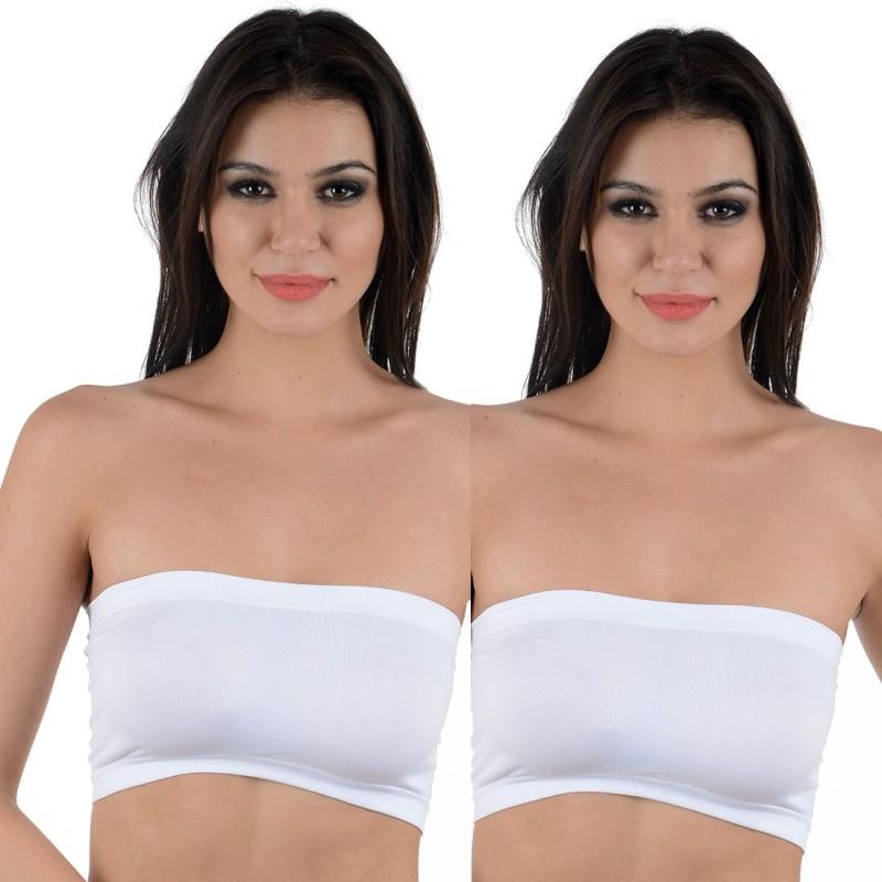 Aws Fashion Bandeau Combo Women Tube Lightly Padded Bra(White)