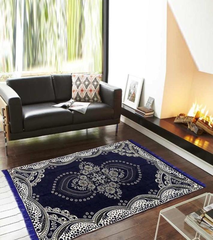 HOME BEST Dark Blue Velvet Carpet(150 cm  X 210 cm)