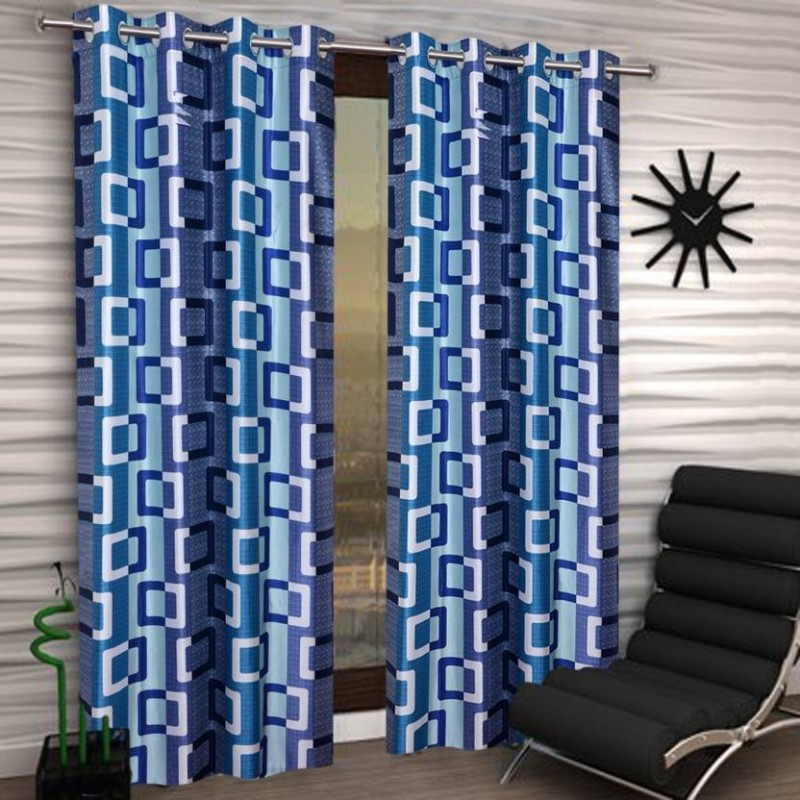 HOME BEST 210 cm (7 ft) Polyester Door Curtain (Pack Of 2)(Floral, Multicolor)