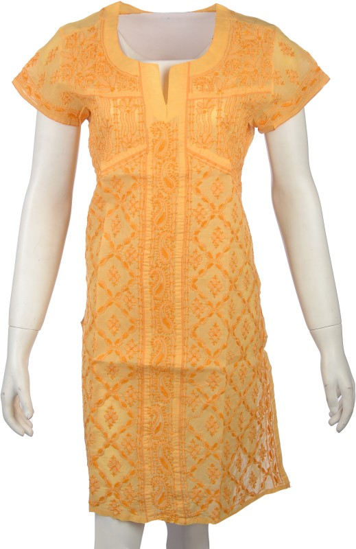 Knool Casual Embroidered Women's Kurti(Beige)