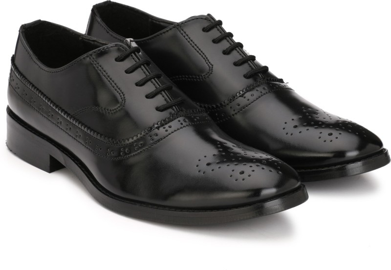 Hirels Black Cap Toe Oxford Brogue Lace Up Lace Up For Men(Black)