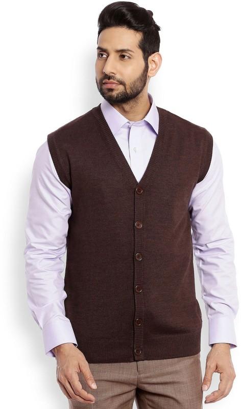 Raymond Solid V-neck Formal Men Brown Sweater